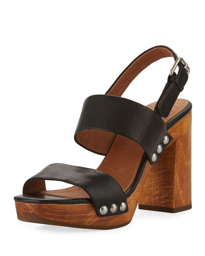 Tori 2 Slingback Wooden Sandal, Black