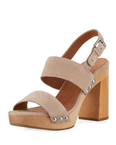 Tori 2 Slingback Wooden Sandal, Taupe
