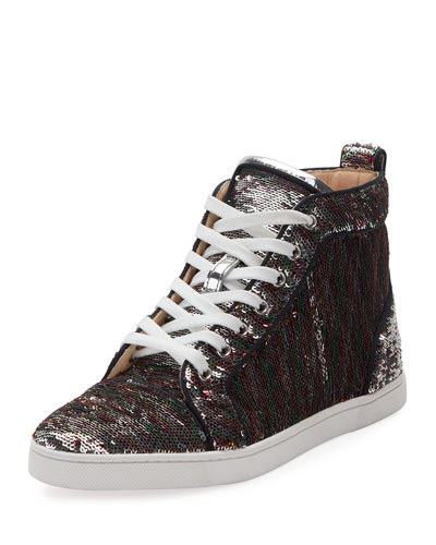 Bip Bip Sequined Red Sole High-Top Sneaker