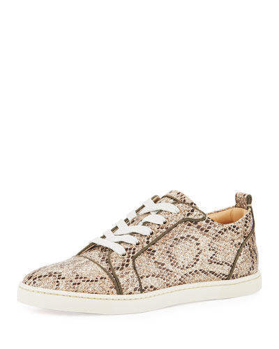 Gondorliere Snake-Print Glitter Red Sole Sneaker, Brown