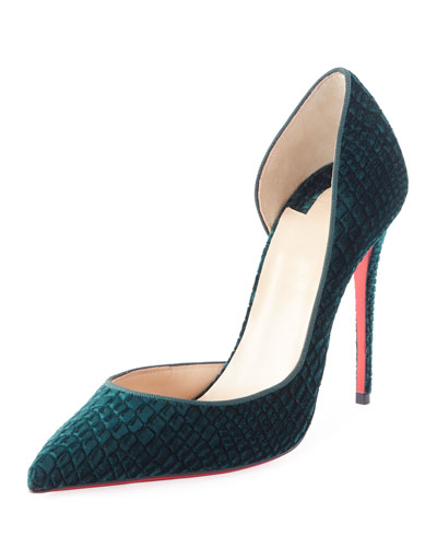 Iriza Embossed Velvet 100mm Red Sole Pump, Green