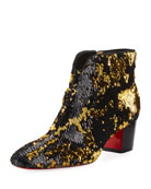 Disco Sequin 55mm Red Sole Bootie