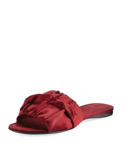 Ellen Ruched Satin Mule Sandal