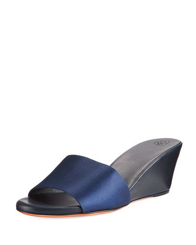 Daisy Satin Wedge Mule Sandal, Navy