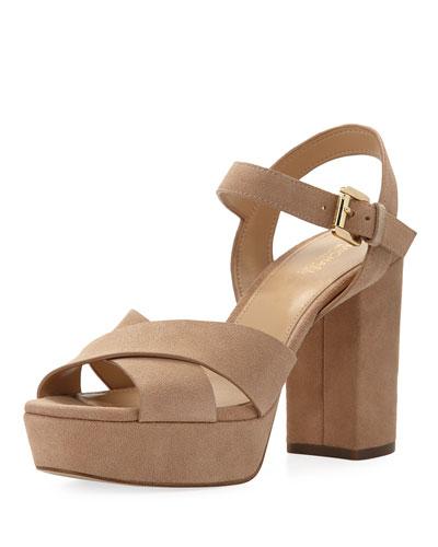 Divia Suede Platform Sandal, Khaki