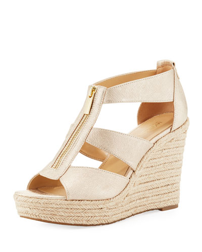 Damita Metallic Wedge Sandal, Gold
