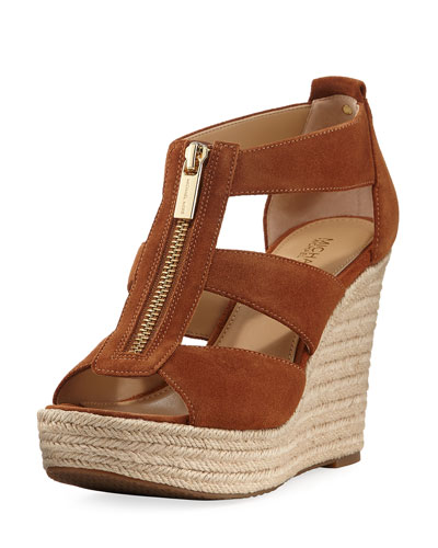 Damita Suede Cutout Wedge Sandal, Luggage