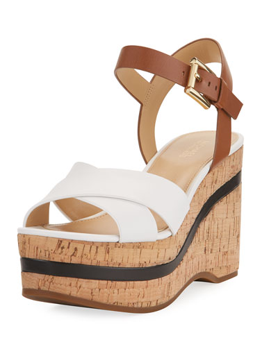 Chandler Wedge Platform Sandal, White/Brown
