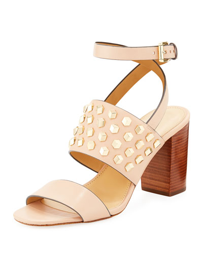 Valencia Studded Leather Sandal, Oyster