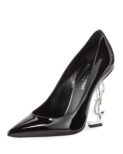 Opyum Patent Pump with Monogram Heel, Black/Silver