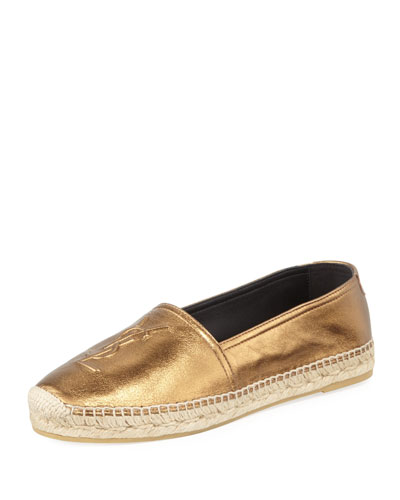 Monogram Metallic Leather Espadrille Flat