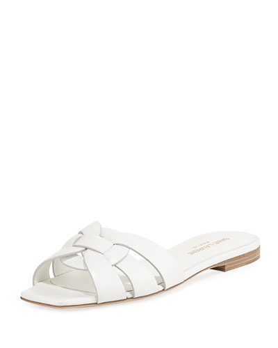 Nu Pieds Flat Calf Leather Slide Sandal