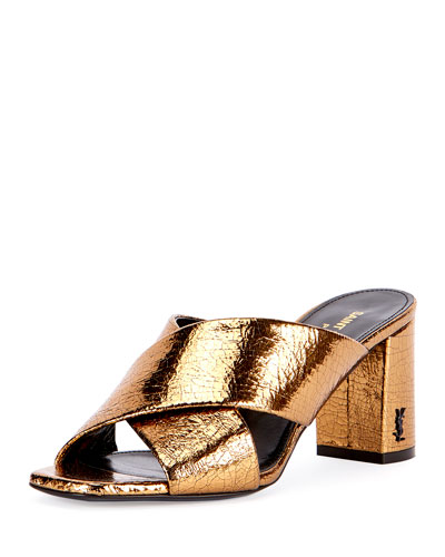 LouLou Crinkled Metallic Slide Sandal