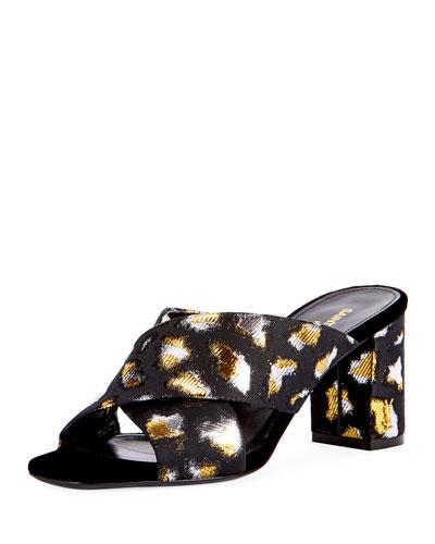 LouLou Metallic Leopard Jacquard Slide Sandal, Gold/Black