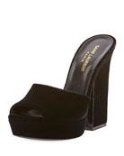 Debbie Velvet Platform Slide Sandal, Black
