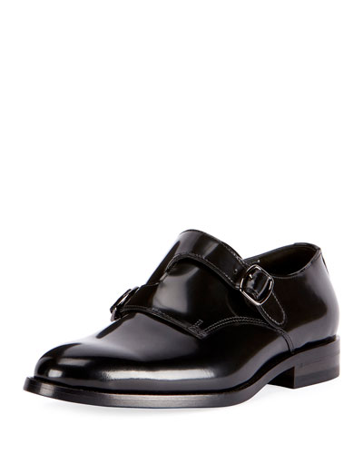 Dare Eli Patent Leather Monk-Strap Loafer, Black
