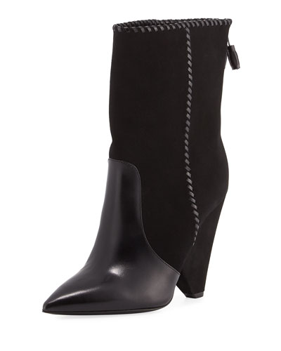 Niki Mixed Leather Mid-Calf Boots, Black