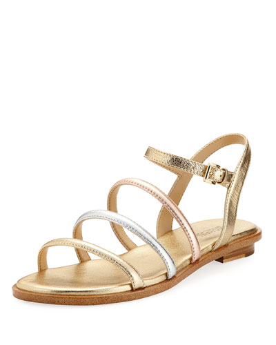 Nantucket Strappy Flat Sandal, Gold