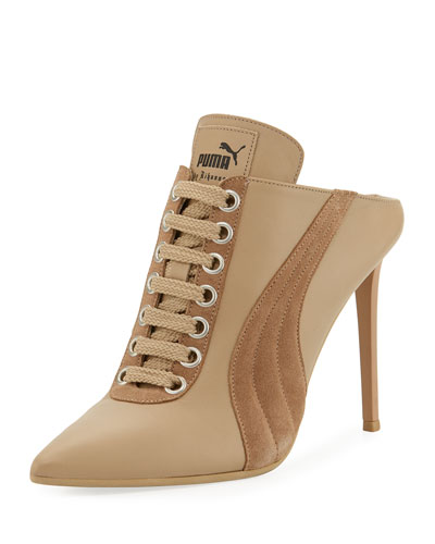 Lace-Up Leather Mule Sneaker Pump, Taupe