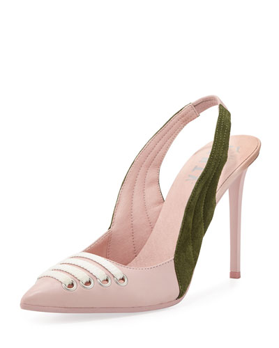 Lace-Up Leather Slingback Pump, Pink