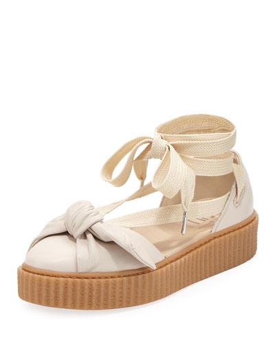 Bow Ankle-Wrap Sneaker-Style Sandal, Tan
