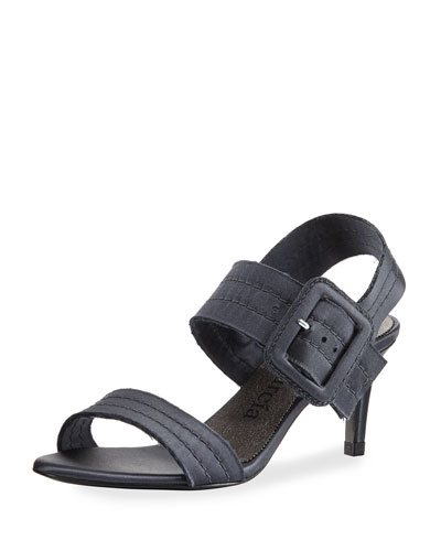 Querly Stitched Satin Mid-Heel Sandal, Gunmetal