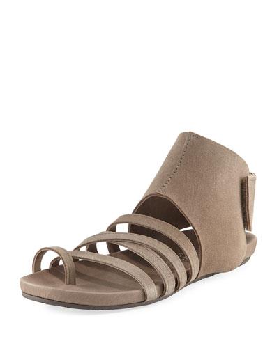 Jezabel Suede Flat Sandal, Taupe