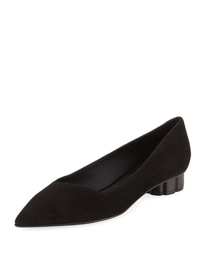 Bari Suede Low Pump, Black