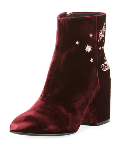 Elixir Embroidered Velvet Boot, Bordeaux
