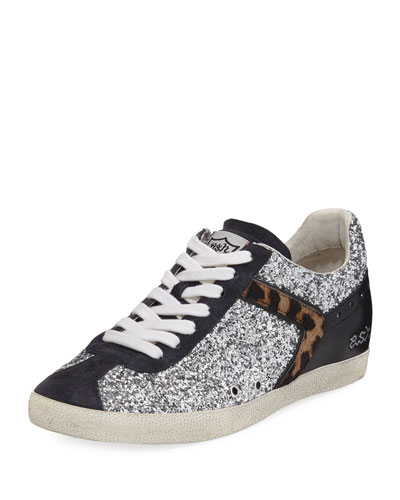 Glittered Fur-Trim Low-Top Sneaker, Silver
