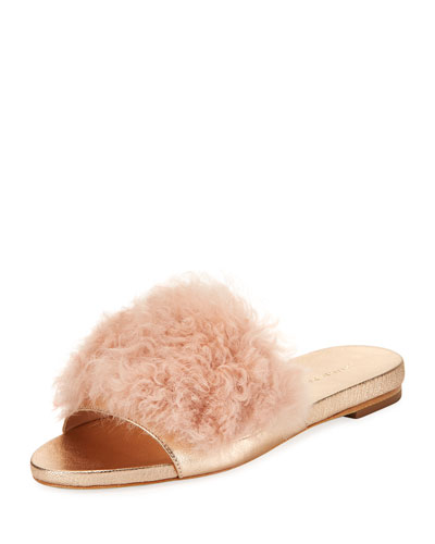 Domino Flat Shearling Fur Slide Sandal