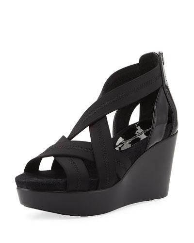 Jilli Canvas Wedge Sandal, Black