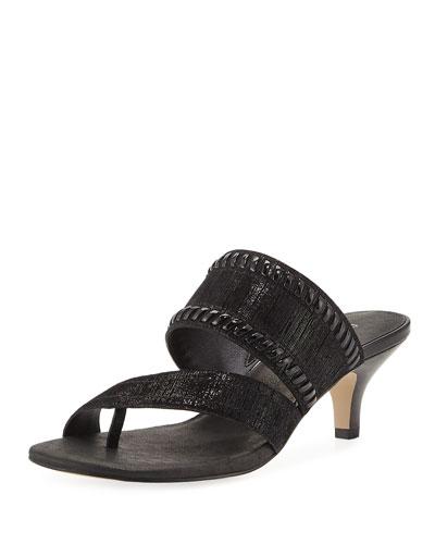Ruge Whipstitch Kitten Slide Sandal, Black