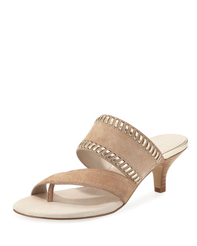 Ruge Whipstitch Kitten Slide Sandal, Neutral