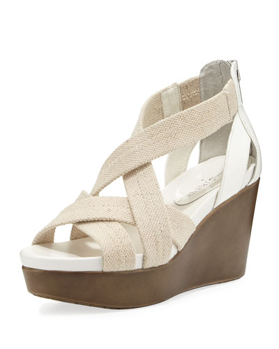 Jilli Canvas Wedge Sandal, Nude