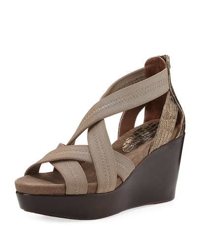 Jilli Canvas Wedge Sandal, Bronze