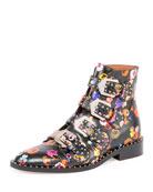 Floral Elegant Flat Ankle Boot, Multi
