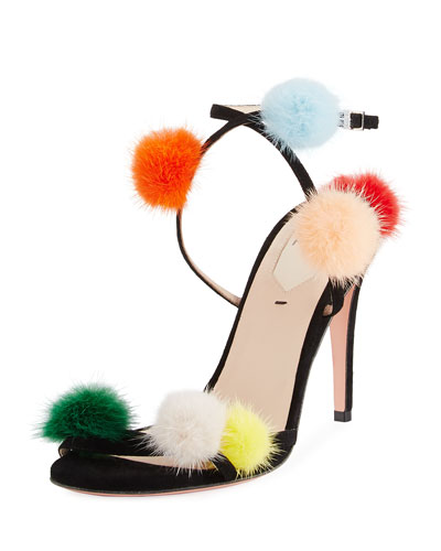 Suede Ankle-Wrap Sandal w/Mink Fur Pompoms, Multi