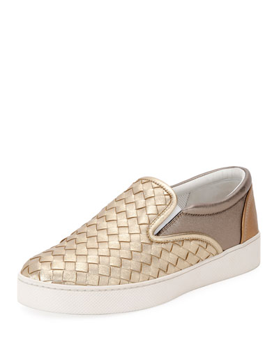Intrecciato Leather Skate Sneakers