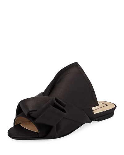 Pleated Flat Satin Slide Sandal