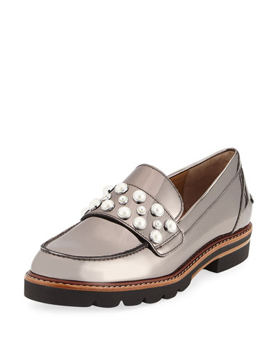 Mocpearl Embellished Loafer, Pewter