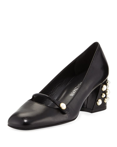 Pearlstrap Embellished Mary Jane Pump, Black