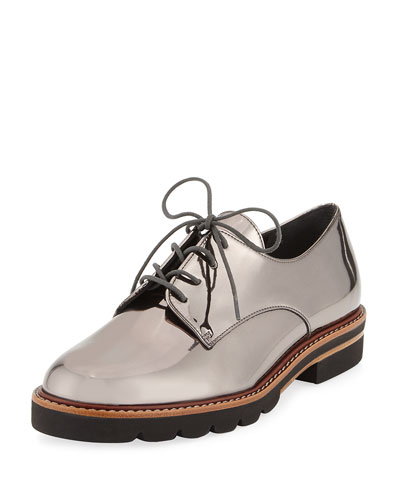 Metro Metallic Lug-Sole Oxford, Pewter