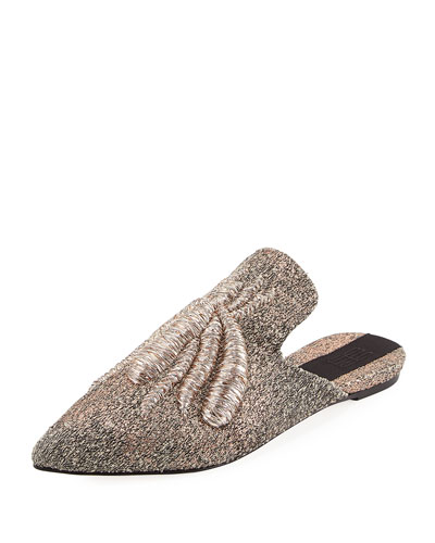 Ragno Spider Embroidered Mule Flat, Croccante/Rose in Metallic