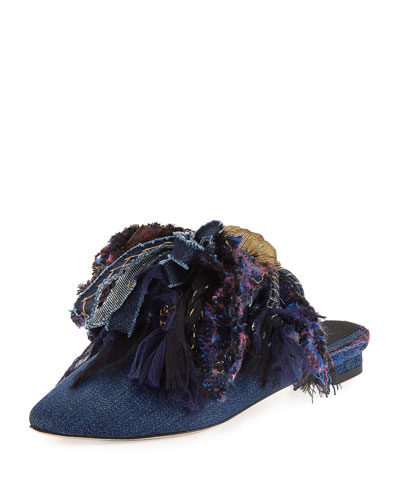 Chardin Metallic Tassel Slipper Flat, Denim