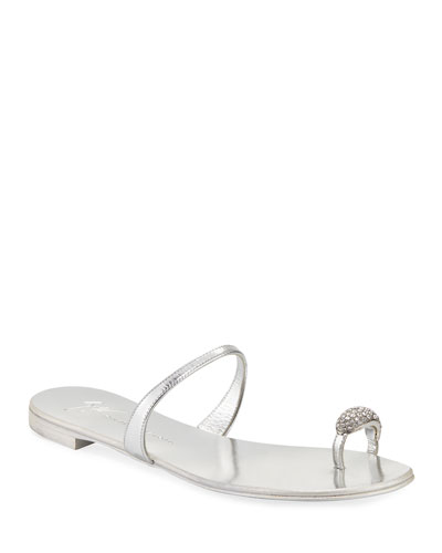 Crystal-Embellished Flat Toe-Ring Sandal