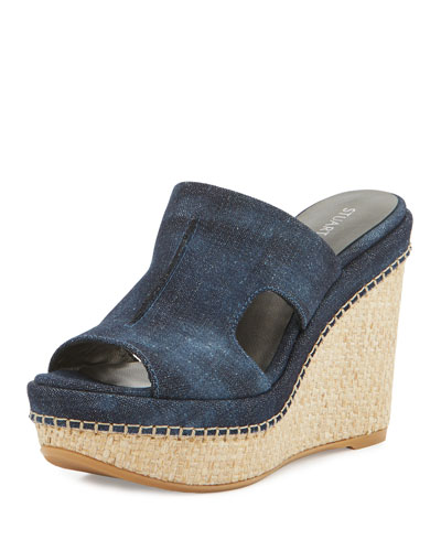 Ponte Denim Wedge Slide Sandal