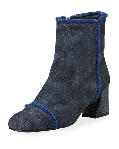On The Fringe Denim Boot, Navy