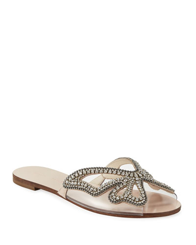 Madame Crystal Butterfly Flat Slide Sandals, Nude