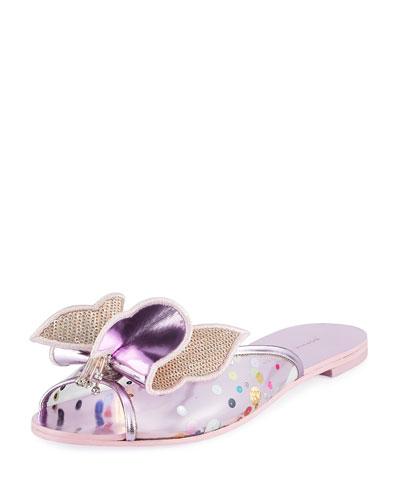 Mesh Butterfly Flat Slide Sandal